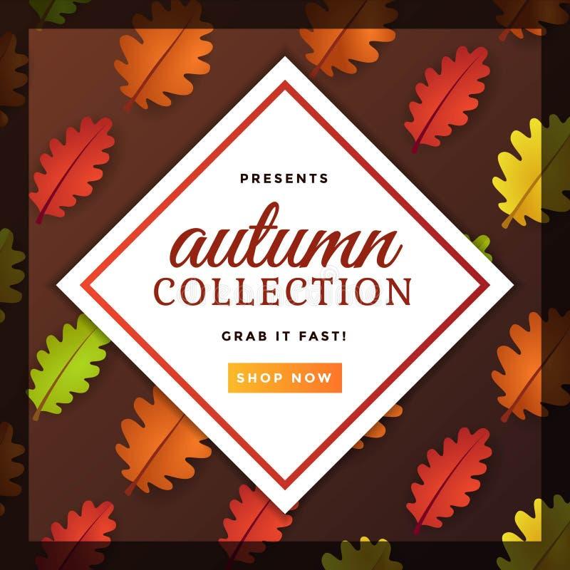 Autumn Seasonal Poster com Autumn Leaves Template Design colorido ilustração do vetor