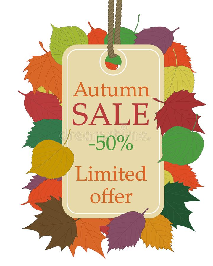 Autumn seasonal sale, beige price tag hanging from rope with text autumn sale 50 discount and limited offer, framed vector illustration