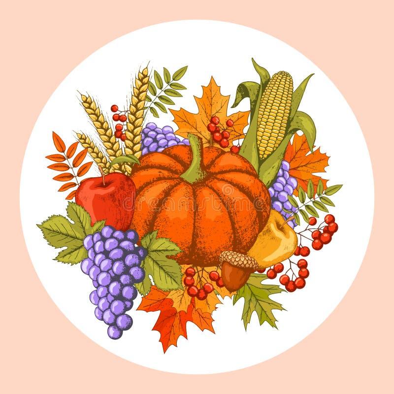 Autumn Seasonal Thanksgiving Day Concept mit Kürbis-Mais und G vektor abbildung