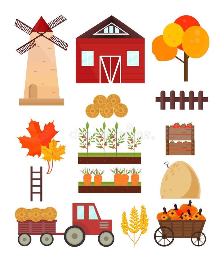 Autumn set mill, tractor, pumpkins harvest, tools Vector vector illustration