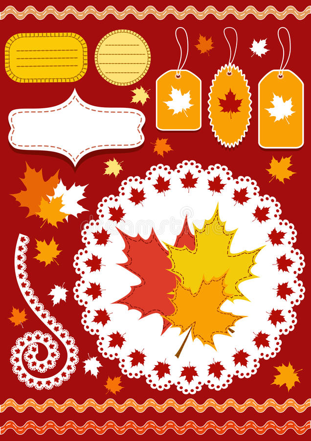 Download Autumn Set For Scrapbook With Doily. Stock Vector - Image: 16293878