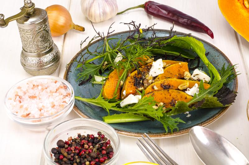 Autumn  set seasonal food with pumpkin ingredient. Soup, salad. Top view of  table royalty free stock photos