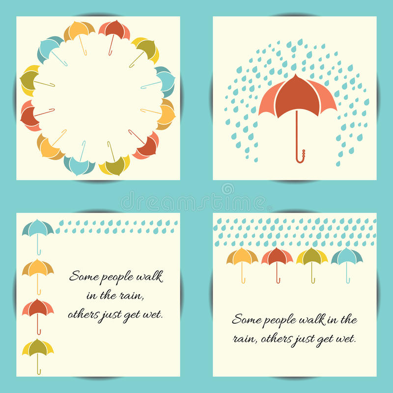 Autumn Set With Umbrella And Rain Stock Vector - Illustration of ...