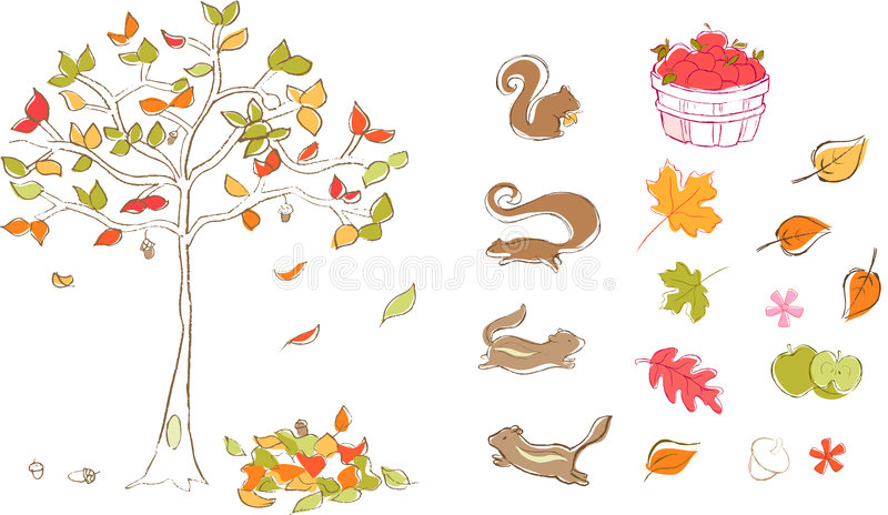 Autumn Set Vector Royalty Free Stock Images