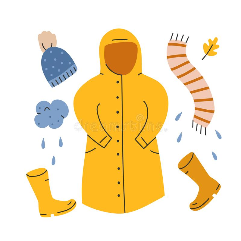 Vector hand drawn illustration of warm apparel and outfit for cool autumn weather, yellow rubber boots and raincoat. Doodle icons stock illustration