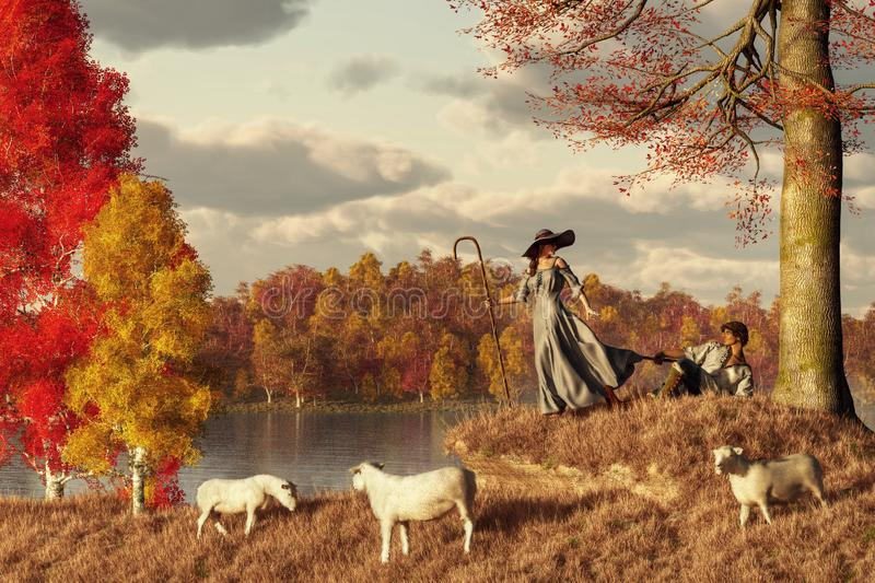 Autumn Pastoral. In autumn, a shepherd flirts with a shepherdess on the grassy banks of a lazy river using his crook to peek under the girl`s grey dress. Three vector illustration