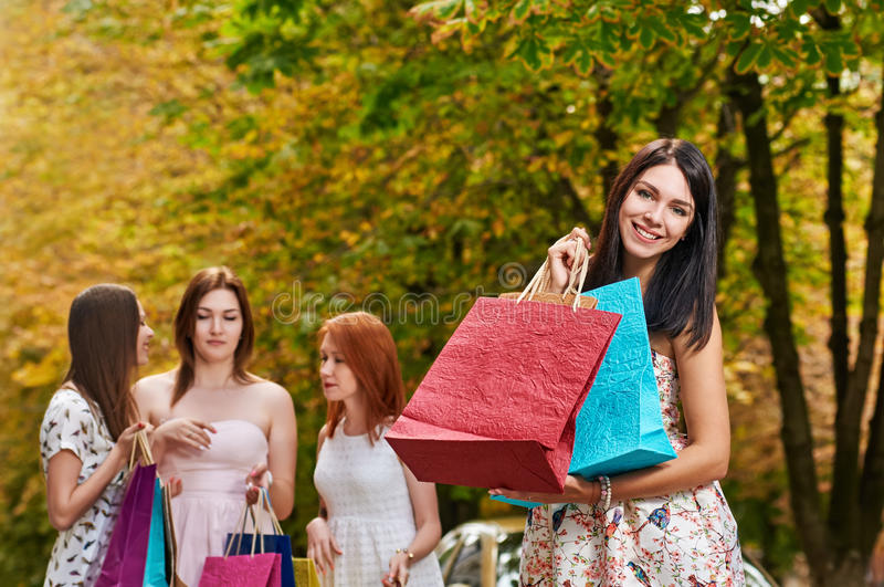 Autumn Shopping smiling woman stock images