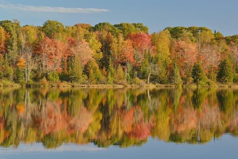 Autumn Shoreline Seneca Lake. Autumn landscape of Seneca Lake with reflections in calm water, Michigan's Upper Peninsula, USA royalty free stock image