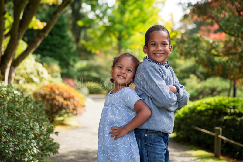 Autumn Siblings fotografia de stock royalty free