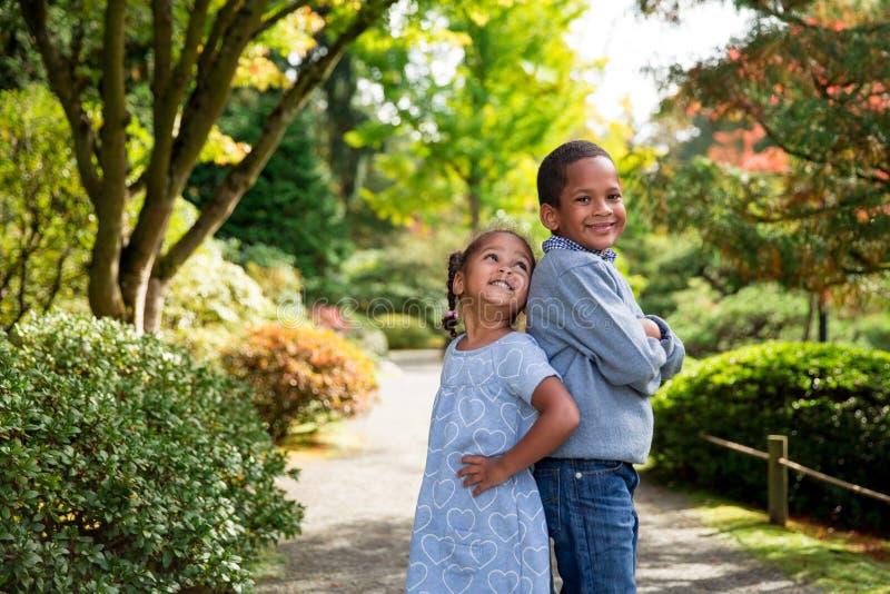 Autumn Siblings foto de stock royalty free