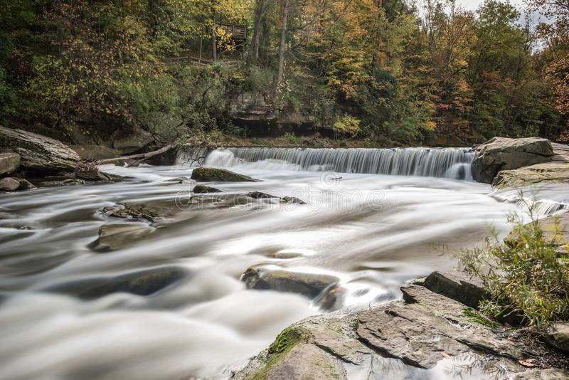 Autumn Silky Waterfall image stock