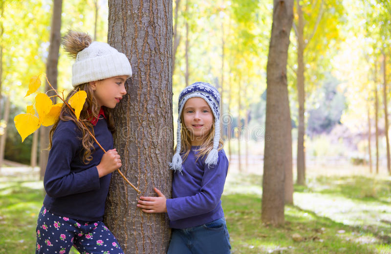 Download Autumn Sister Kid Girls Playing In Forest Trunk Outdoor Stock Image - Image: 28940295