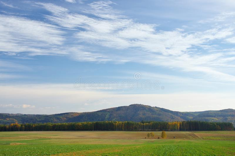 Autumn sky over the landscape. Autumn sky above the countryside in October, Czech Republic stock photo