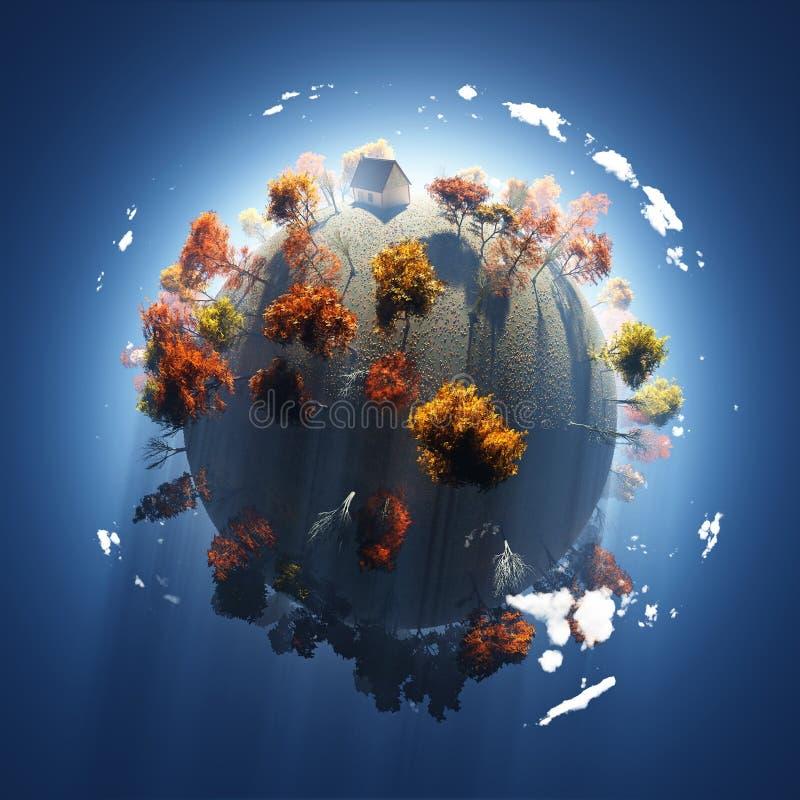 Autumn on small planet royalty free illustration