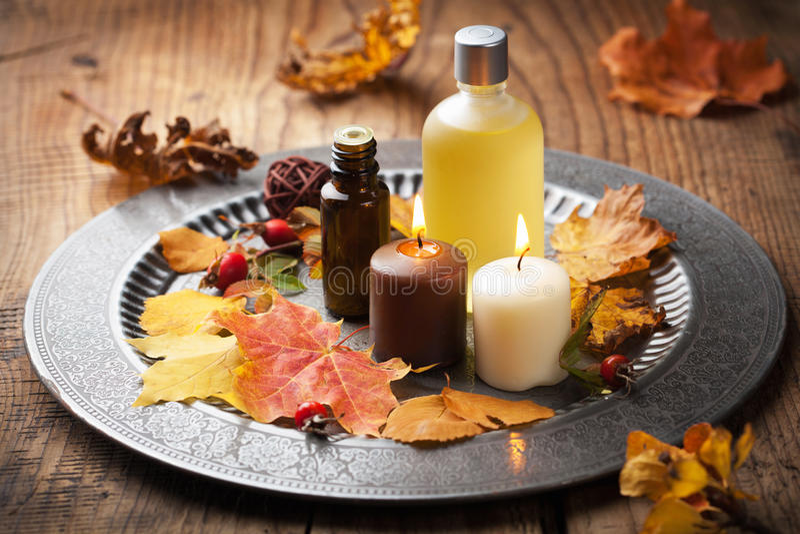 Autumn spa and aromatherapy royalty free stock image