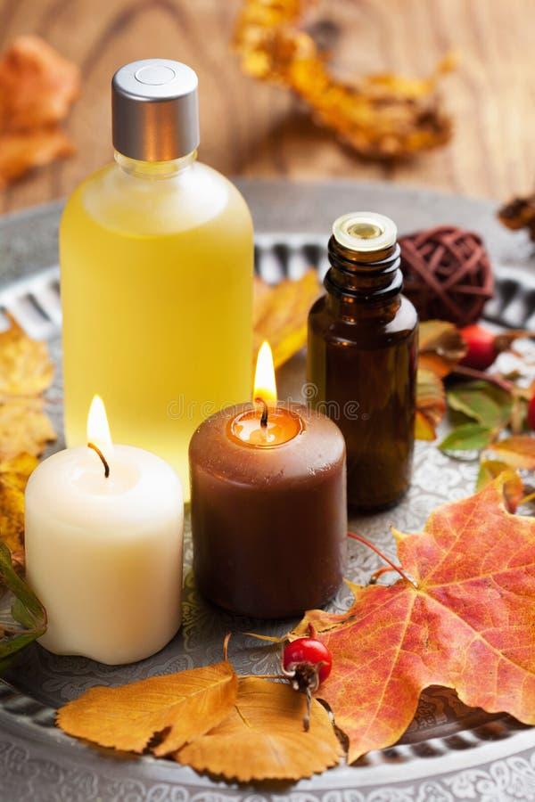Autumn spa en aromatherapy royalty-vrije stock fotografie