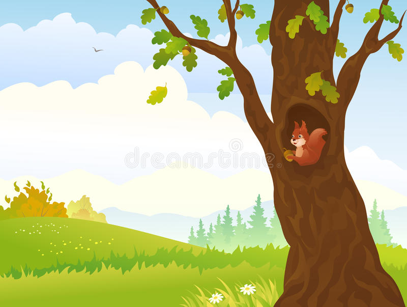 Autumn squirrel. Illustration of an autumn landscape with a squirrel inside oak tree royalty free illustration