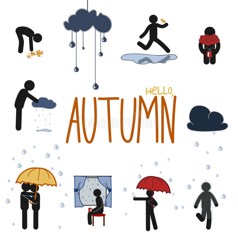 Autumn stick man set stock illustration