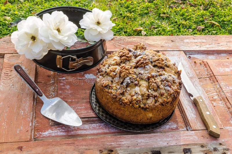 Autumn still life with cake, walnuts and white roses. Rustic style. From series Natural organic food stock image