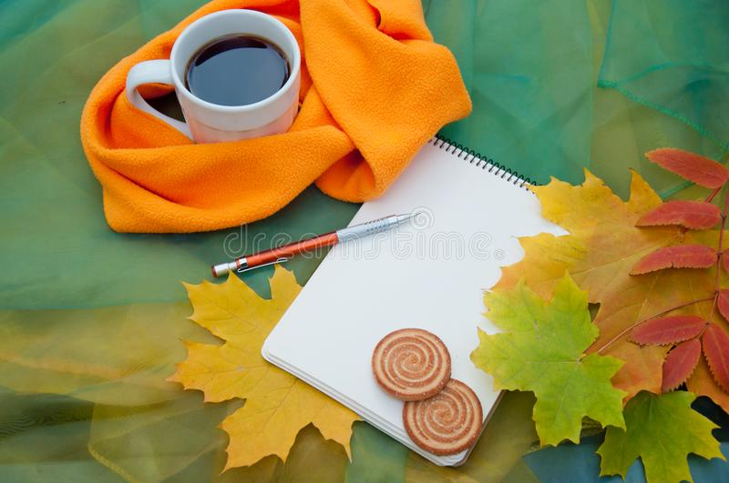 Autumn still life with cup of tea, orange scarf, autumn fallen leaves and paper notepad, pencil, cookies stock image