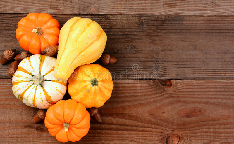 Autumn Still Life. An autumn still life of decorative mini pumpkins, gourds and acorns on a rustic wood table. Horizontal format with copy space stock image