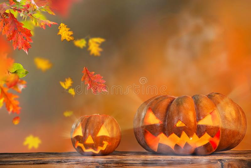 Autumn still-life with halloween pumpkins and leaves. stock photo