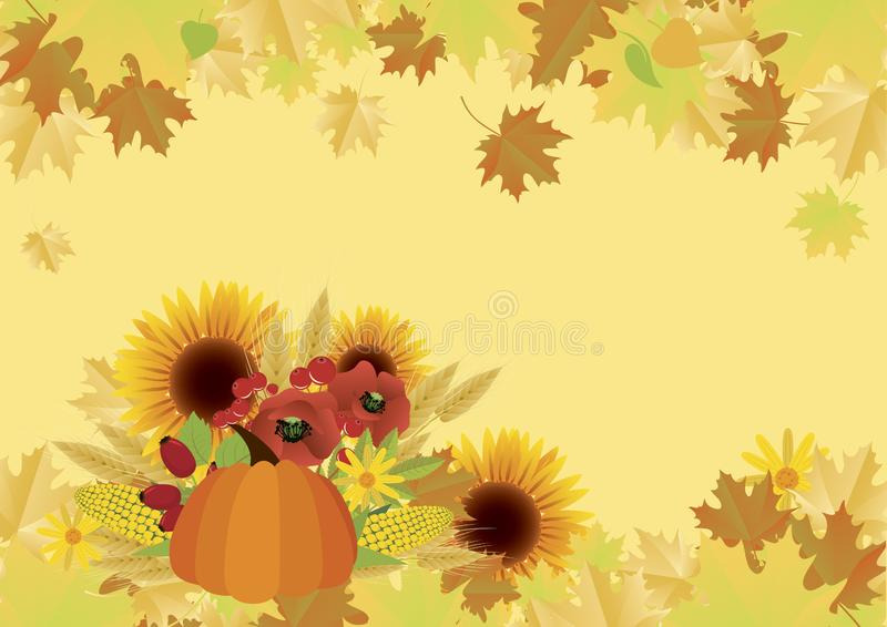 Autumn harvest with pumpkin and sunflowers background vector stock illustration