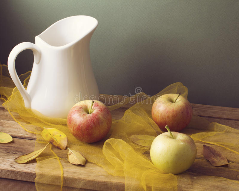 Download Autumn Still Life With Leaves And Apples Royalty Free Stock Image - Image: 26830326