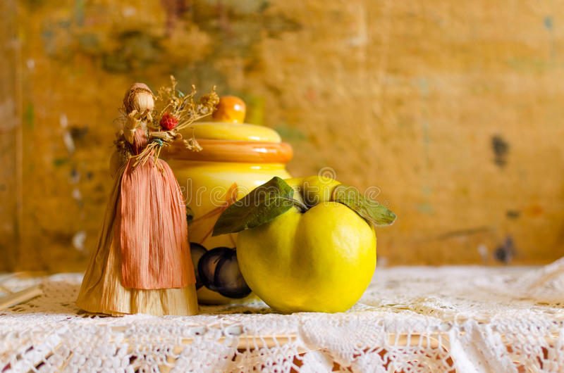 Autumn still life with Quince royalty free stock photos