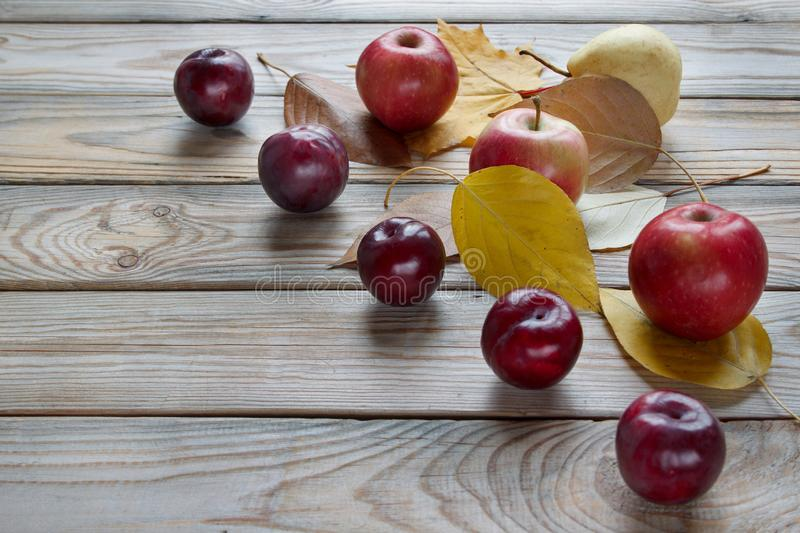 Autumn still life with various fruits are lying on a wooden desk. Autumn maple and other leaves. Harvesting. Copy space for your text royalty free stock photos