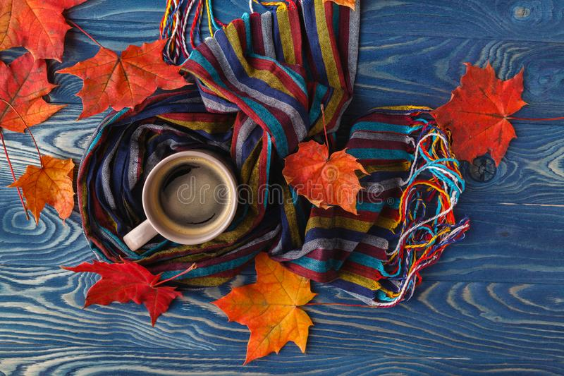 Autumn still life - Warm knitted scarf and cup of coffee on rust stock photos