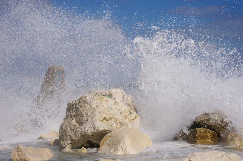 Autumn storm on breakwater in port Varna, Bulgaria