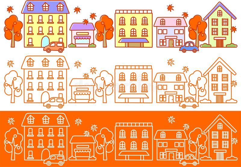 Download Autumn streets stock illustration. Image of town, trees - 21696441