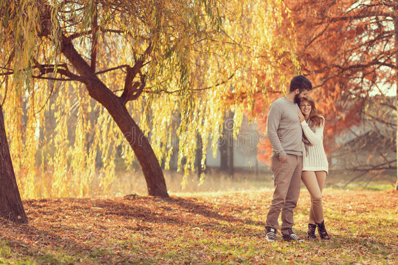 Autumn stroll. Young couple in love holding hands and walking through a park on a sunny autumn day stock images