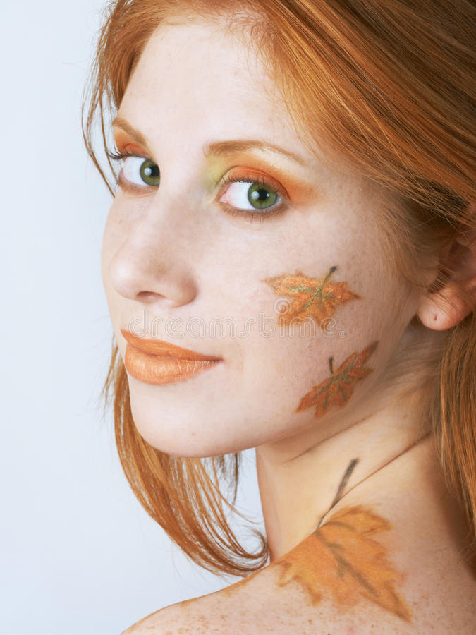 Autumn style face-art. Beautiful girl with autumn style face-art make-up stock image