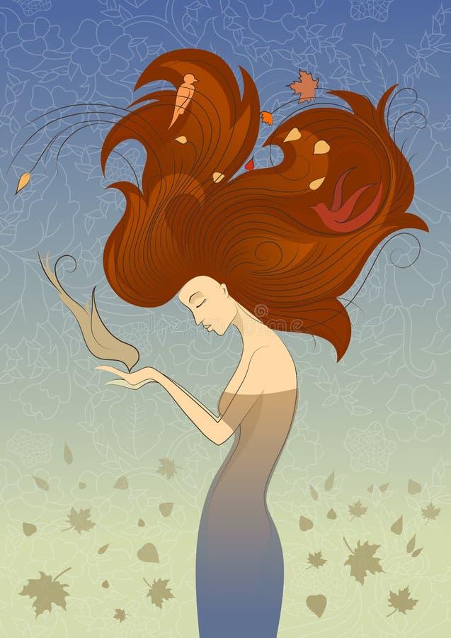 Autumn Style Fantasy Outline Sketch av den unga kvinnan med långt rött lockigt hår som matar fågeln från händer som omges av fågl royaltyfri illustrationer