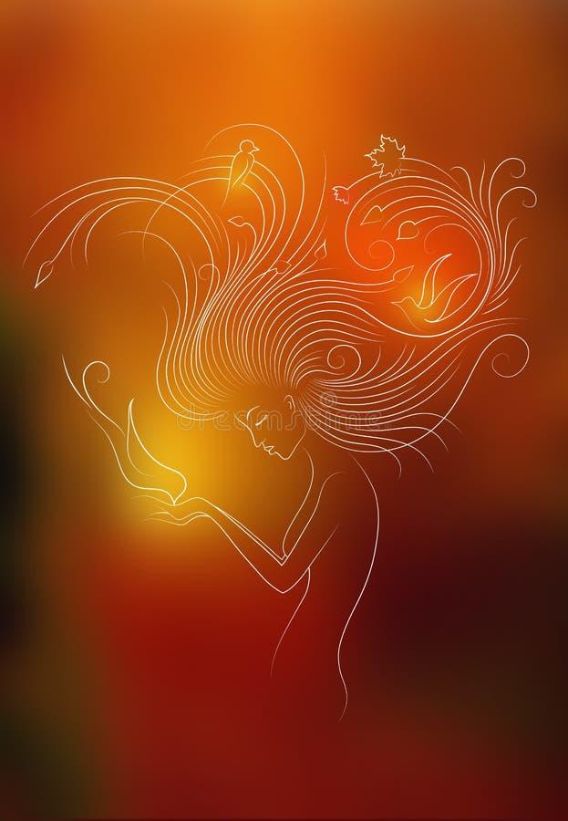 Autumn Style Fantasy Outline Sketch av den unga kvinnan med långt rött lockigt hår som matar fågeln från händer som omges av fågl vektor illustrationer