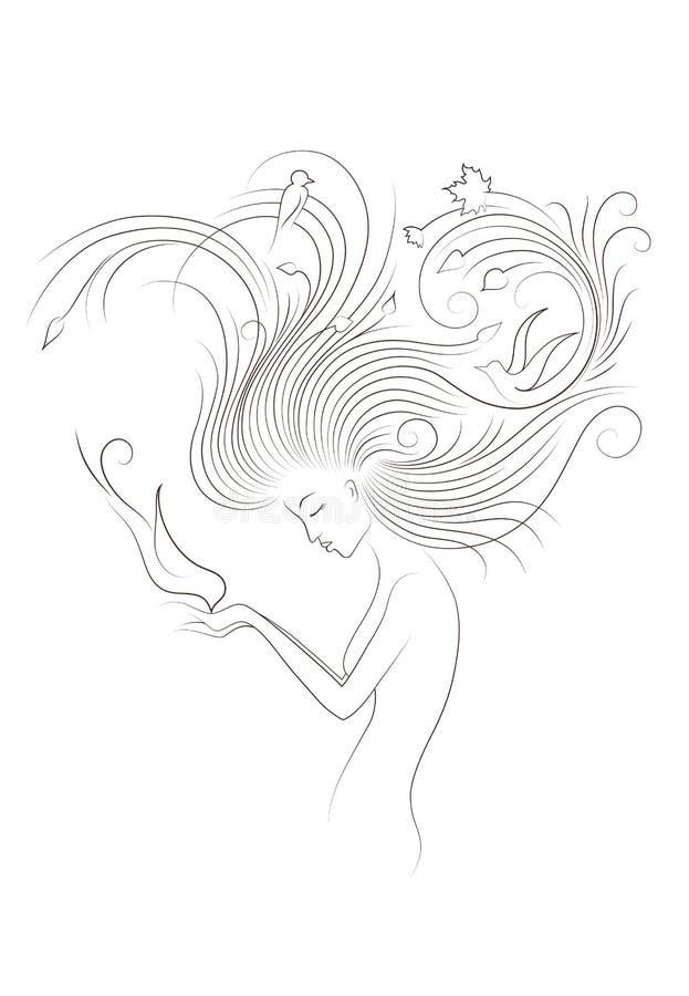 Autumn Style Fantasy Outline Sketch de jeune femme avec de longs cheveux bouclés rouges alimentant l'oiseau des mains, entouré pa illustration stock