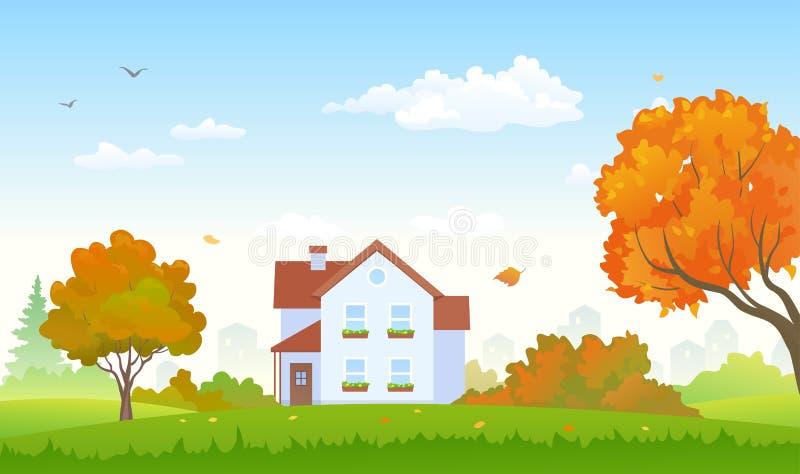 Autumn Suburburn House ilustração stock