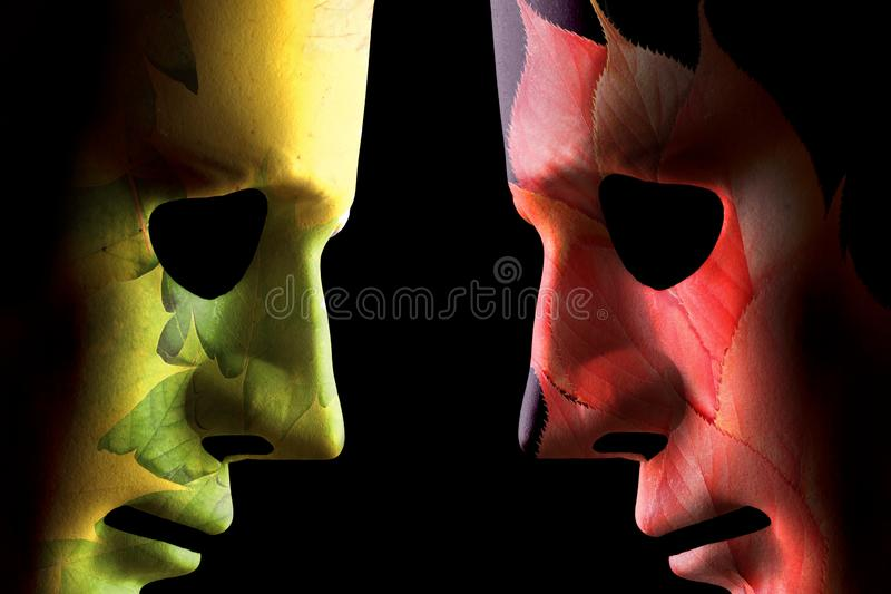 Autumn and summer head to head concept stock photography