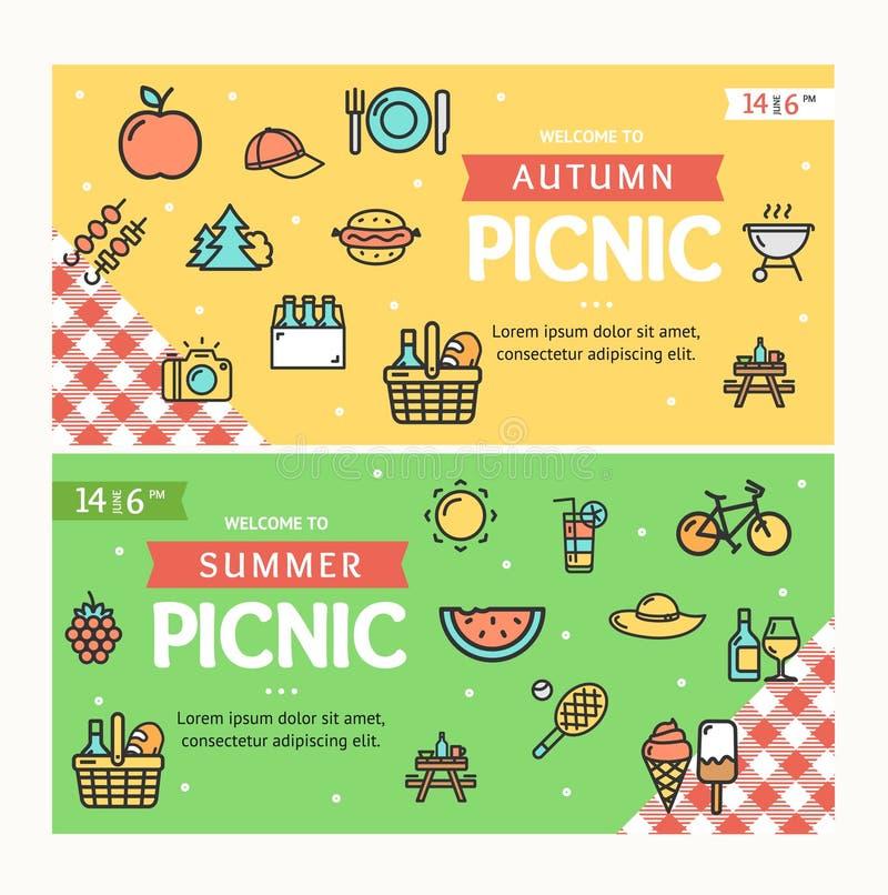 Autumn and Summer Picnic Banner Horizontal Set. Vector stock illustration