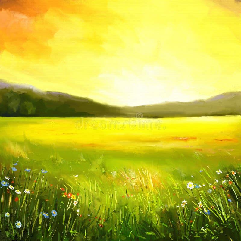 Autumn sundown landscape painting vector illustration
