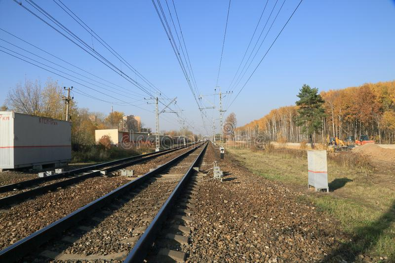 Autumn, Sunny day, blue sky, railway track. royalty free stock images