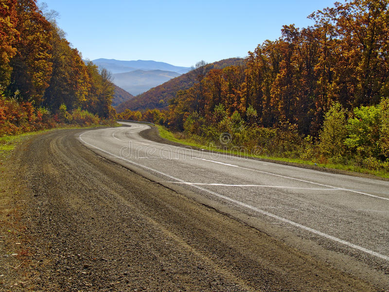 Autumn sunny day on a highway stock images