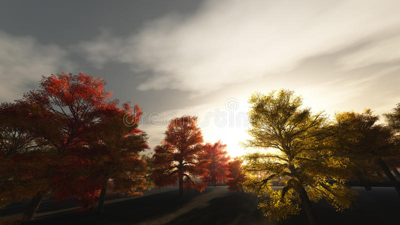Autumn Sunrise illustration de vecteur