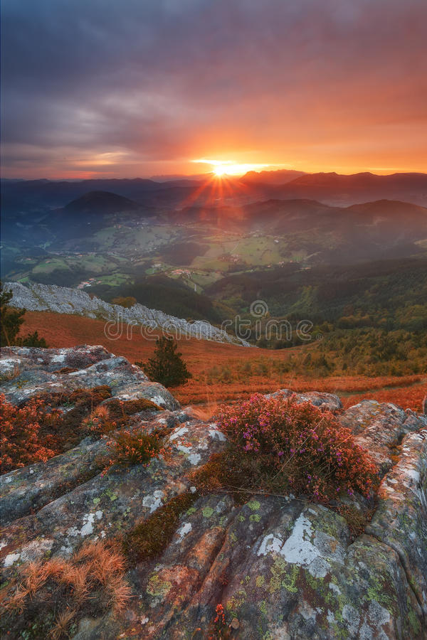 Autumn sunrise. Typical  with south wind in the Basque Country stock photography