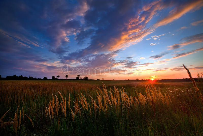 Autumn sunset stock images