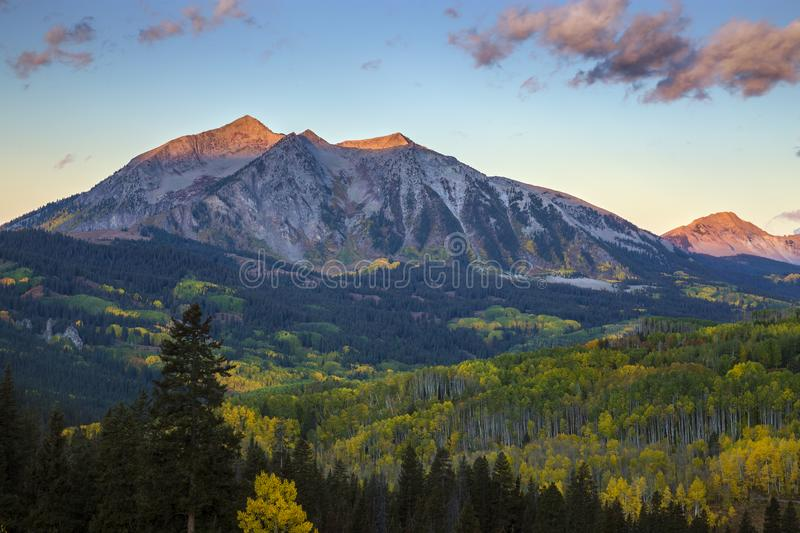 Autumn Sunset on Kebler Pass in the Rocky Mountains of Colorado royalty free stock images