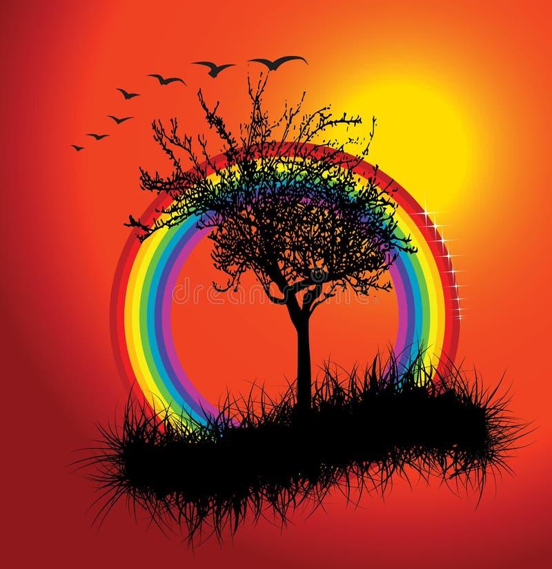 Autumn sunset with rainbow royalty free illustration