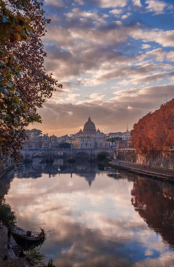 Autumn sunset in Rome royalty free stock photo